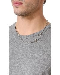 Giles & Brother | Metallic Embedded Safety Pin Necklace for Men | Lyst