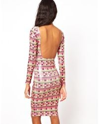 AX Paris | Pink Swing Dress In Wave Stripe Print With Pu Band | Lyst