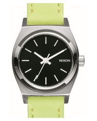 Nixon - Metallic 'small Time Teller' Leather Strap Watch - Lyst