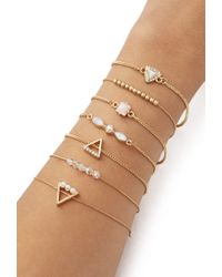 Forever 21 | Metallic Beaded And Faux Stone Bracelet Set | Lyst