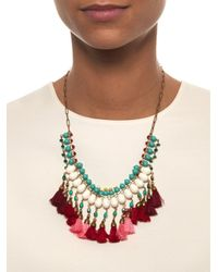 Isabel Marant - Red Mild Bead And Tassel Necklace - Lyst