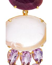 Bounkit | Multicolor Faceted Ruby, Amethyst And Cabochon Rose Quartz Earrings | Lyst