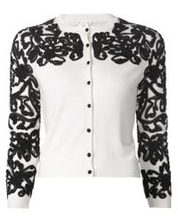 Oscar de la Renta - White Embroidered Cardigan - Lyst