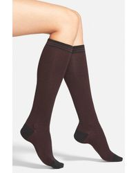Hue - Black Chevron Cotton Blend Knee Socks - Lyst