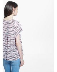 Mango - Pink Flowy Printed Blouse - Lyst