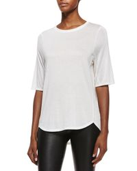 Vince | White Half-sleeve Ribbed Trim Tee | Lyst