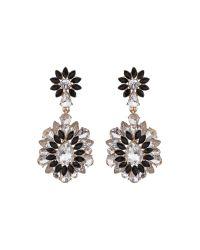 Mikey - Black Drop Fillagary Flower Earring - Lyst