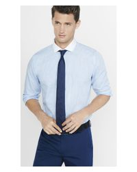 Express | Blue Fitted Contrast Collar Striped Dress Shirt for Men | Lyst