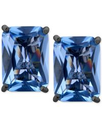 T Tahari | Hematite-tone Blue Crystal Clip-on Earrings | Lyst