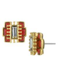 Sam Edelman - Orange Gold-Tone Zipper Stud Earrings - Lyst