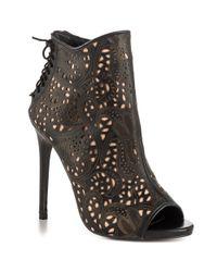 Steve Madden | Black Korsett Peep Toe Boots | Lyst
