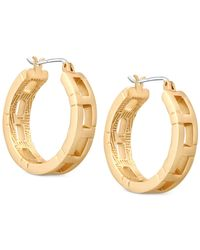 T Tahari | Metallic Gold-tone Patterned Hoop Earrings | Lyst