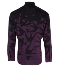 McQ - Black and Purple Swallow Print Cotton Shirt for Men - Lyst