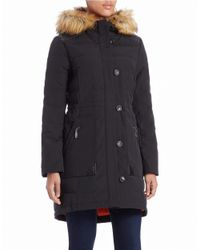 Vince Camuto | Black Faux Fur-trimmed Coat | Lyst