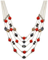 INC International Concepts - Pink Gold-tone Mixed Red Bead Five-row Illusion Necklace - Lyst