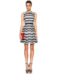 RED Valentino - Blue Striped Viscose-blend Jacquard Dress - Lyst