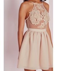 Missguided - Natural Lace Applique Detail Skater Dress Nude - Lyst