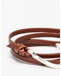 Miansai - Metallic Hook Silver Brown Leather for Men - Lyst
