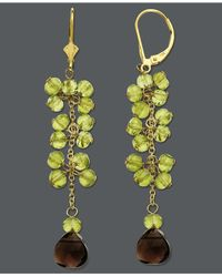 Macy's | Green 14K Gold Earrings, Peridot And Smokey Topaz Drop Earrings (10-1/3 Ct. T.W.) | Lyst