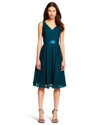 Adrianna Papell - Blue Lace Midi Dress - Lyst