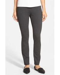 Eileen Fisher - Gray Skinny Knit Pants With Yoke Detail - Lyst