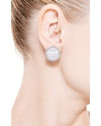 Kimberly Mcdonald | One Of A Kind Round Blue Lace Agate and Diamond Stud Earrings | Lyst