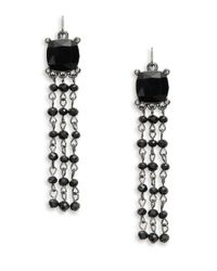 Lauren by Ralph Lauren | Black Jet Crystal Hematite Drop Earrings | Lyst