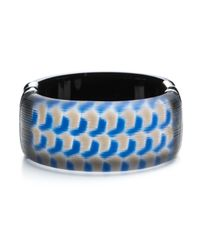Alexis Bittar | Blue Patterned Rhodium End Cap Bracelet | Lyst