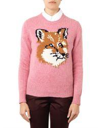 Maison Kitsuné | Pink Foxintarsia Wool Sweater | Lyst