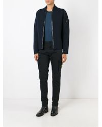 Stone Island - Blue Knitted Bomber Jacket for Men - Lyst