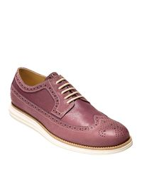 Cole Haan - Purple Leather Wing Tip Oxfords for Men - Lyst