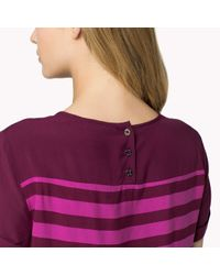 Tommy Hilfiger | Purple Cotton Viscose Striped Top | Lyst