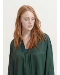 Violeta by Mango - Green Textured Panel Blouse - Lyst