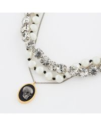 Paul Smith - Metallic Diamante And Pearl Triple Strand Skull Necklace - Lyst