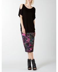 Label Lab - Black Cut Out Sleeve Top - Lyst