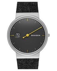 Skagen - Black 'ancher' Monochrome Strap Watch for Men - Lyst