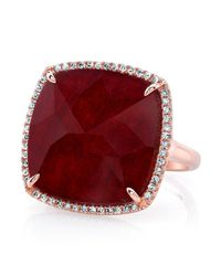 Anne Sisteron | Brown 14kt Rose Gold Ruby Diamond Cushion Cut Cocktail Ring | Lyst