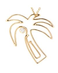 Hillier | Mytheresa.com Exclusive Palm Tree Paper Clip 14kt Yellow Gold Necklace With White Diamond | Lyst