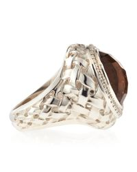 Slane | Metallic Smoky Topaz Basket-Weave Ring | Lyst