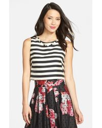 Eliza J | Black Embellished Stripe Crop Top | Lyst