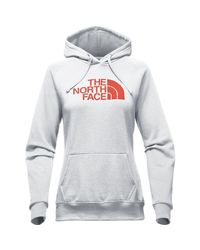 The North Face - Gray Women Half Dome Hoodie, Light Grey Heather/ Bossa Nova Red - Lyst