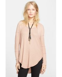 Free People | Pink 'Ventura' High/Low Thermal Top | Lyst