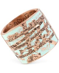 Betsey Johnson | Green Rose Gold-tone Lover's Lane Wide Bangle Bracelet | Lyst