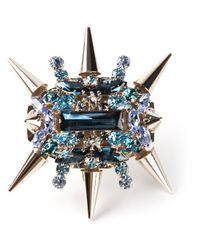 Philipp Plein - Blue Spiked Cocktail Ring - Lyst