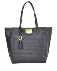 Badgley Mischka | Black Blanche Quilted Leather Tote Handbag | Lyst