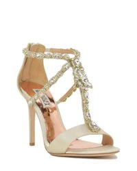 Badgley Mischka | White Georgia Embellished T-strap Evening Shoe | Lyst