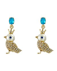 Betsey Johnson - Multicolor Pearl Critters Bird Drop Earrings - Lyst