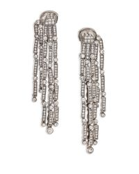 Oscar de la Renta | Metallic Crystal Tassel Double-sided Clip-on Drop Earrings | Lyst