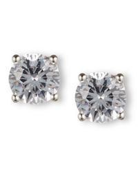 Nine West | Metallic Silver-tone Round-cut Crystal Stud Earrings | Lyst