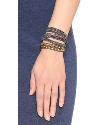 Chan Luu - Metallic Beaded Wrap Bracelet - Garnet Mix/gunmetal - Lyst